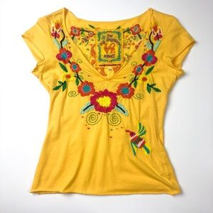 Johnny Was Love Embroidered V Neck Tee Yellow K916
